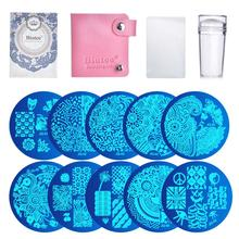 10Pcs Nail Plates + Clear Jelly Silicone Nail Art Stamper Scraper Nail Art Stamping Template Image Plates Nail Stamp Plate Set недорого