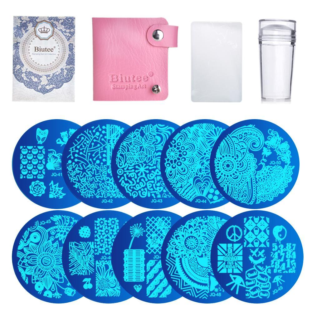 10Pcs Placas de Unhas + Limpar Jelly Silicone Nail Art Stamper Scraper Nail Art Stamping Placas de Imagem Prego Selo placa Set