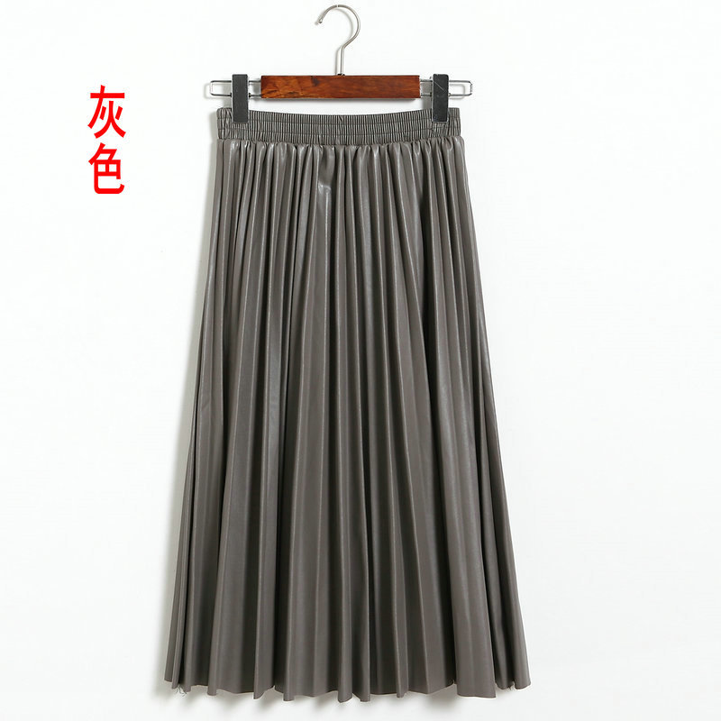 Women High-waist Pleated PU Leather Skirts Skater Casual Maxi Skirt Long JS020 Long Polyester Fashion Autumn Winter Casual