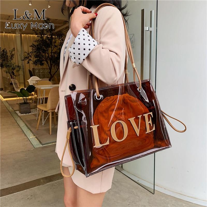 Women Fashion Transparent PVC Handbag Female Clear Brown Shoulder Bag LOVE Letter Printing Tote Bags Summer Beach Handbags XA813