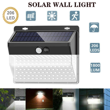 206 LED Solar Light Outdoor Solar Lamp PIR Motion Sensor Wall Light Waterproof Solar Powered Sunlight for Garden Decoration
