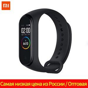 Оригинальный Xiaomi Mi Band 4 браслет Miband 4 фитнес-браслет 3 цвета AMOLED экран Смарт-тренер Bluetooth Спорт управление музыкой