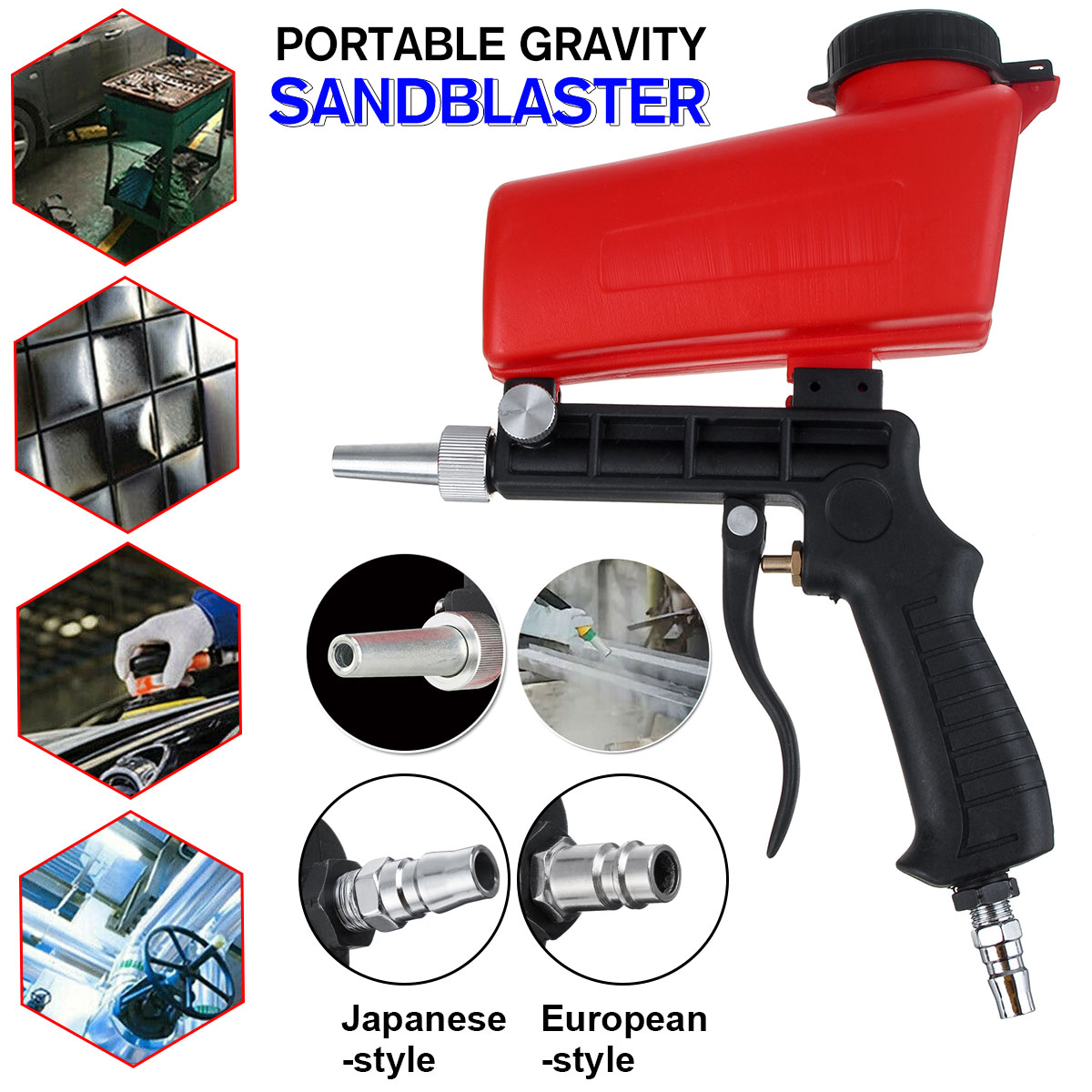 90psi Portable Gravity Sandblasting Guns Pneumatic Small Sand Blasting Machine Adjustable Pneumatic Sandblasting Set