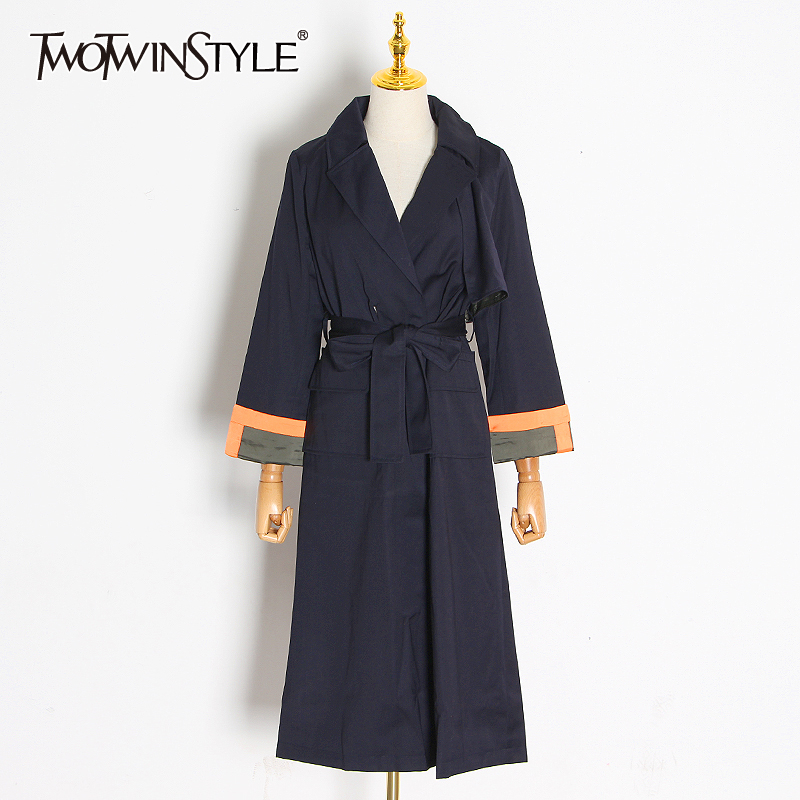 TWOTWINSTYLE Elegant Pathwork Hit Color Women Windbreaker Lapel Collar Long Sleeve High Waist Lace Up Trench Coat Female Fashion