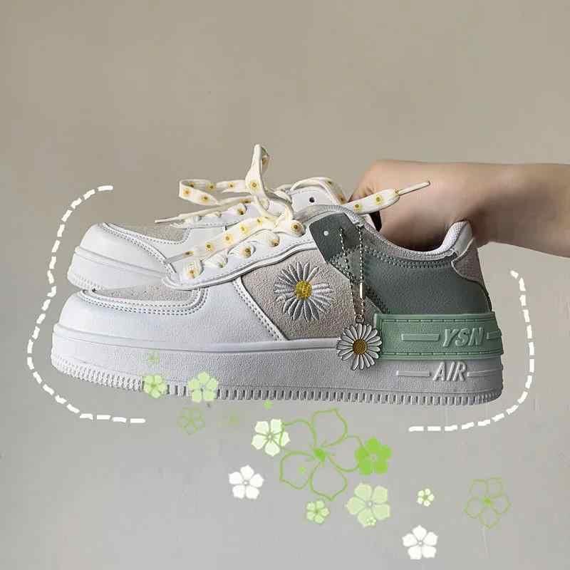 2020 printemps coréen xue sheng ban xie wang rouge petite marguerite chaussures de sport chaussures blanches femme chaussures baskets