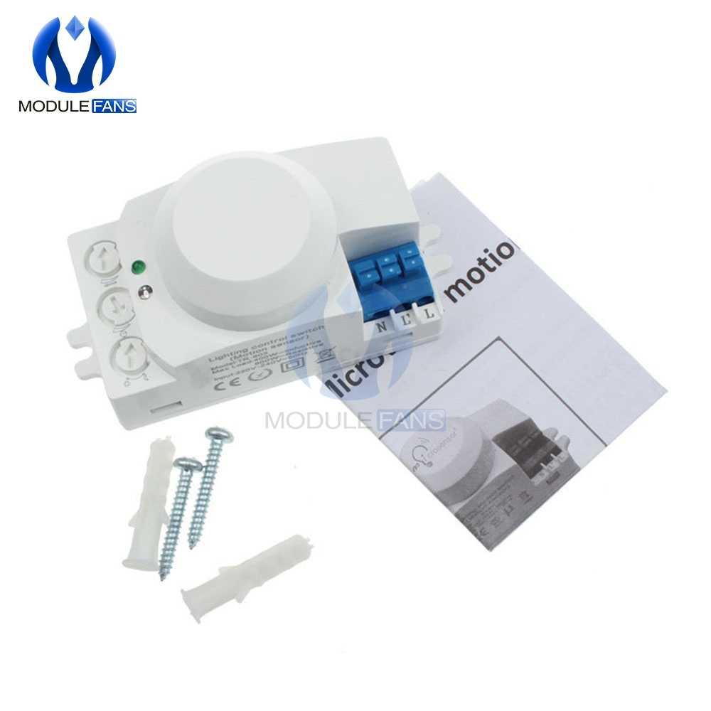 AC 220V 5,8 GHz microonda movimiento Detector de movimiento interruptor Sensor para la luz más caliente Módulo de microonda