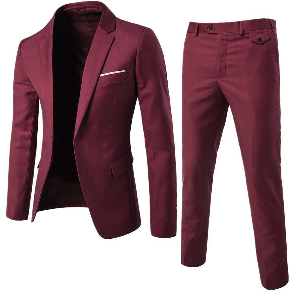 Mężczyźni wiosna 2 sztuki klasyczny zestaw garniturowy blezer mężczyźni biznesowa marynarka + spodnie zestawy garniturów 2019 jesienne męskie wesele zestaw imprezowy