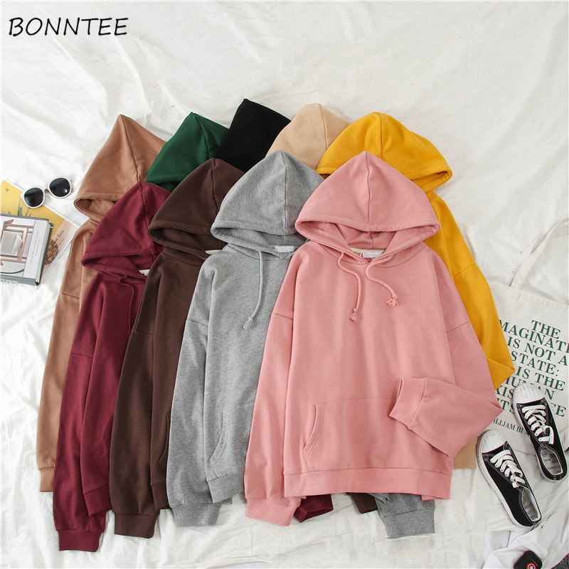 Hoodies Women Solid Loose Hooded Simple Elegant All-match Korean Style Harajuku Womens Candy Color Leisure Pullover Clothes Chic