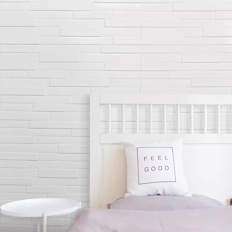 White Thickness 3D Brick Wall Stickers Living Waterproof Foam Room Bedroom DIY Adhesive Wallpaper Art Home Wall Decals