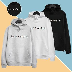Women Friends Hoodies Harajuku Letters Print Pocket Warm Thicken Pullovers Hip Hop Loose Solid Female Sweatshirts for women