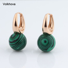 New Arrivals 585 Rose Gold Color Earrings Jewelry Natural Stone 12mm Round Earrings For Women Wedding Party