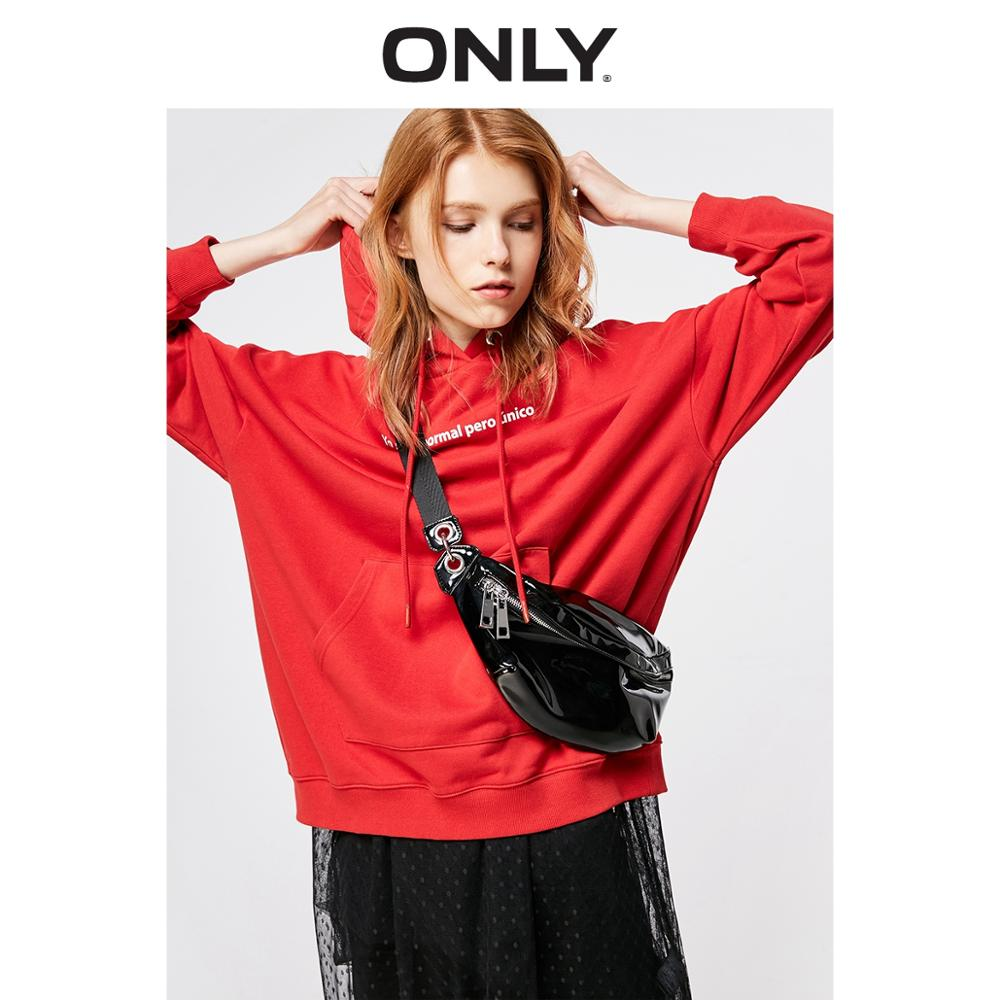 ONLY  Women's Loose Fit Letter Print Hoodie |11919S594