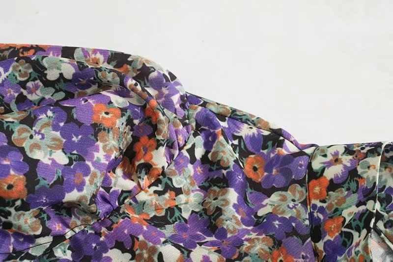 Phụ Nữ Thanh Lịch Họa Tiết Hoa Áo Cổ Đứng Tay Phồng Áo Sơ Mi Nữ Cổ Mặc Công Sở Sang Trọng Cao Cấp Blusas
