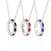 Fashionable Female Simple Necklace Round Hollow Animal Puppy Paw Print Pendant Black Blue Red Optional Holiday Jewelry Gift