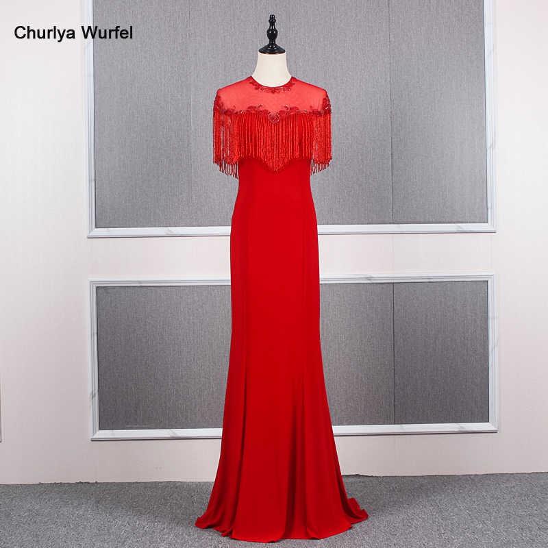 YY146 Churlya Wurfel בת ים ארוך שמלות ערב המפלגה o-צוואר ציצית ואגלי סאטן אדום ערב שמלות נשף חדש פיאסטה vestido