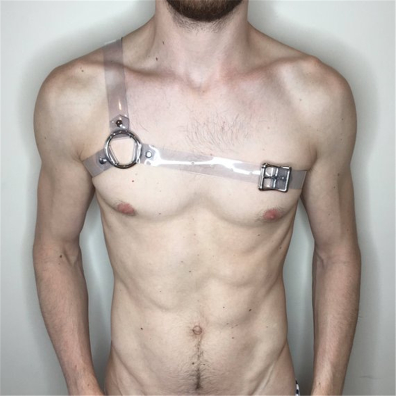 Fetish Men Erotic Chest Harness PVC Adjustable Exotic Tops Male Body Harness Strap Punk Rave Gay Clothing For BDSM Bondage Sex