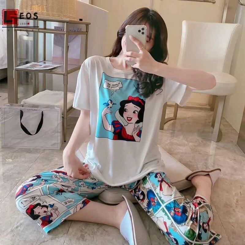 Woman Sleepwear Set 2Pcs Loose T-Shirt Shorts Pajamas For Ladies Suit Summer Cartoon Print Snow Cute Homewear Female Nightgowns