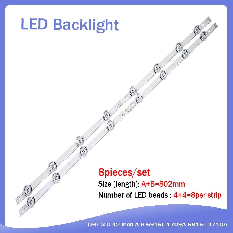 8 Pieces/lot(4*A+4*B) LED Backlight Bar For LG INNOTEK DRT 3.0 42
