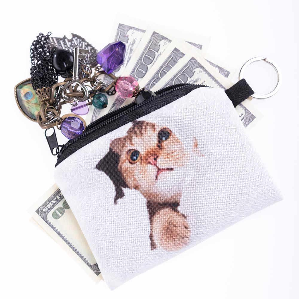 Novo gato bonito rosto zíper moeda bolsa feminina menina impressão mudança criança bolsa de maquiagem saco embreagem carteira telefone chave sacos