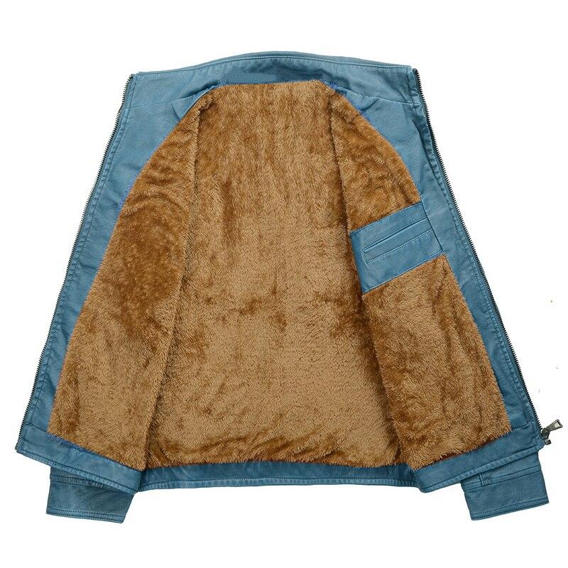 H7367b3de34d34cd59606c931f217c996e Luxury 2019 Leather Jackets Men Autumn Fleece Zipper Chaqueta Cuero Hombre Pockets Moto Jaqueta Masculino Couro Slim Warm Coat