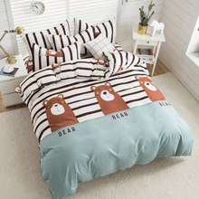 Cute bear stripes flat bed sheet bedding sets duvet cover Pillowcase KIng queen double full twin single size 3/4pcs(China)