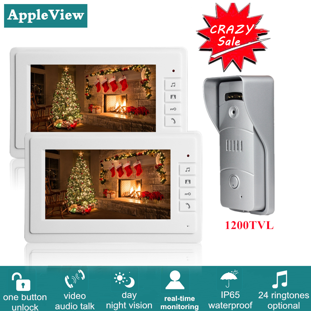 Apartment Video Door Phone Intercom System Video Doorbell Kit With 2 Indoor Monitors 1 Outdoor Call Panel Support Door Release