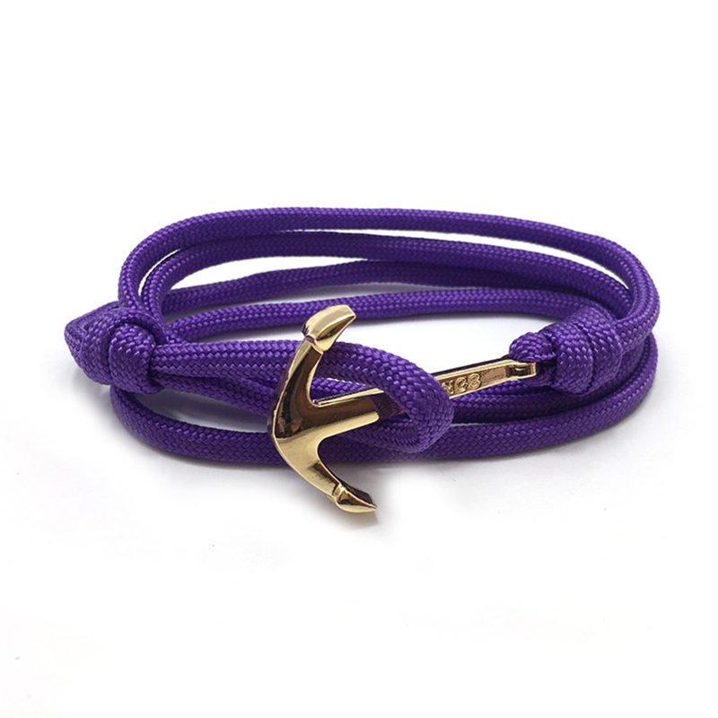 HOMOD Golden anchor bracelet Strand Bracelets Personality Navy Boat Anchor Rope Bracelet Women Hand Catenary Anchor Bracelet in Wrap Bracelets from Jewelry Accessories