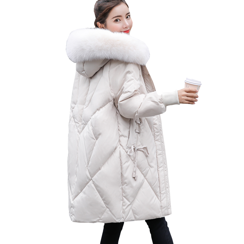 Winter New White duck   down   woman   coat   Thick Warm Big fur collar Hooded Long   down   jacket Fashion Loose Plus size women Overcoat
