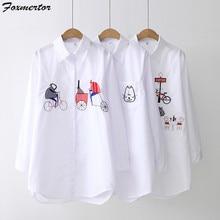 Camisa branca bordado blusa feminina 2020 dos desenhos animados blusas femininas topos botão up manga comprida blusas femininas topos