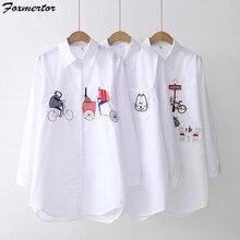 Chemisier brodé pour femmes, chemise blanche, hauts longues, bouton, chemisier de dessin animé pour femmes, 2020