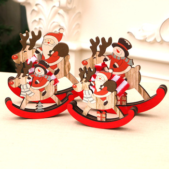Christmas Wooden Rocking Horse/Santa Claus Gift Decoration/Home Decor/Christmas Decoration/DIY House/Christmas Gifts image