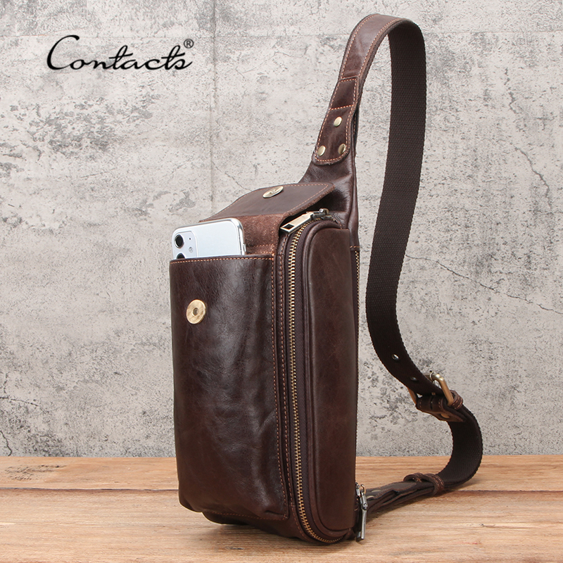 CONTACT'S Chest Bag Genuine Leather Men Shoulder Messenger Belt Bags Casual Waist Packs Fanny Pack For Phone Pouch High Quality