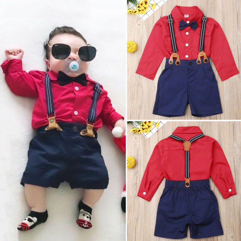 CANIS 2PCS Newborn Infant Kids Baby Boy Lovely Long Sleeve Button Bowknot Gentleman Tops T-shirt+Pants Outfit Set