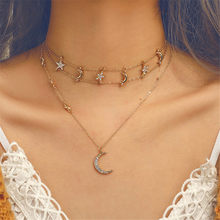 Vintage Multilayer Crystal Pendant Necklace Women Gold Color Beads Moon Star Horn Crescent Choker Necklaces Pentagram Necklace(China)