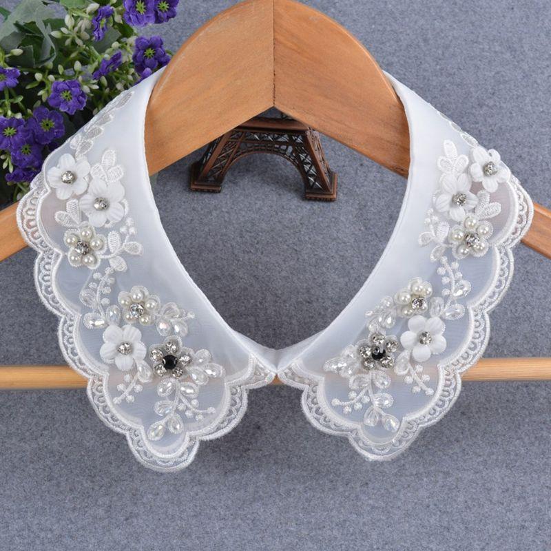 2020 New Women Fashion Imitation Pearl Fake Collar Detachable Dual Mesh Lapel Necklace