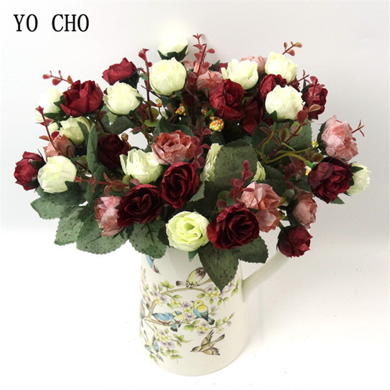 YO CHO 21 Heads Retro Rose Flower Artificial Silk Flower DIY Bridal Bouquet Flowers Home Party Room Wedding Decoration Fake Rose
