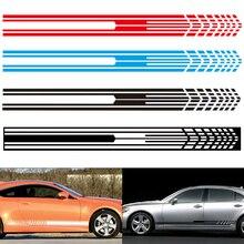 2pcs/pair  215 x 9CM PVC 3 Colors Universal Stripe Grid Pattern Creative Refit Car Racing Side Body Sticker