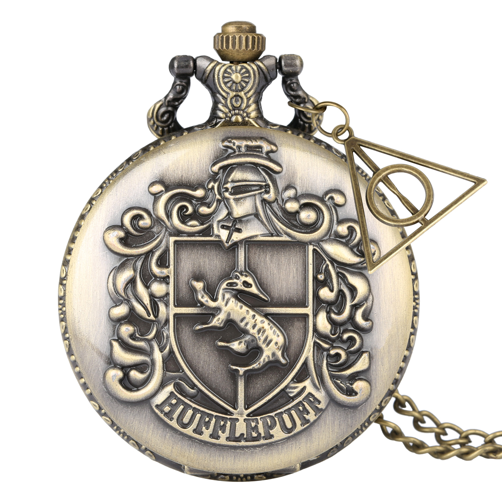 Popular Movie Extension Quartz Pocket Watches Hufflepuff Letter Engraved Theme Bronze Necklace Clock Vintage Watches + Accessory
