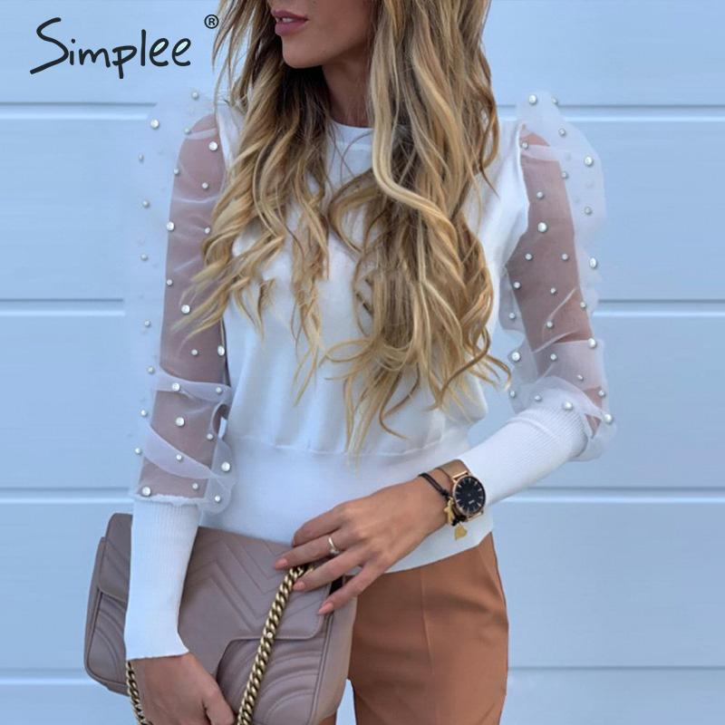 Simplee Elegant Pearl Mesh Blouse Shirt Women Puff Sleeve Female Knitted Top Shirt Autumn Sold Casual Party Wear Ladies Tops