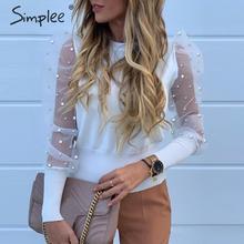 Simplee, blusa elegante de malla de perlas, camisa de mujer con mangas abullonadas, camiseta tejida de otoño vendida, ropa de fiesta informal, tops para mujer