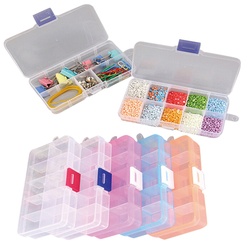 10 Cells Jewelry Storage Case Rings Craft Organizer Plastic Tool Box Beads Tiny Stuff Compartments Containers Makeup Box
