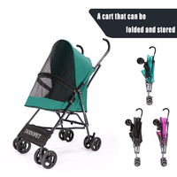 Pet Stroller Dog Cat Puppy Jogger Pushchair Travel Carrier Pram Buggy Multicolor Oxford Cloth Steel Pipe High intensity 4 Wheels
