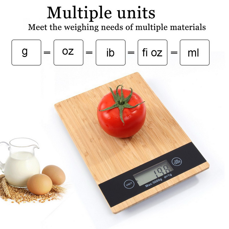 במבוק לוח 5kg 1g אלקטרוני מטבח בקנה מידה Creative במבוק פנל מטבח בקנה מידה מזון רפואה משקל בקנה מידה חדש