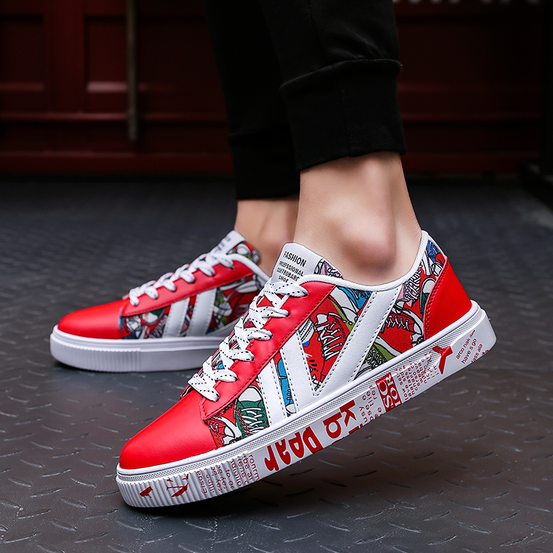 Men Sneakers Platform Shoes Breathable Graffiti Mesh Male Shoes Streetwear Comics Walking Men Vulcanized Shoes V H
