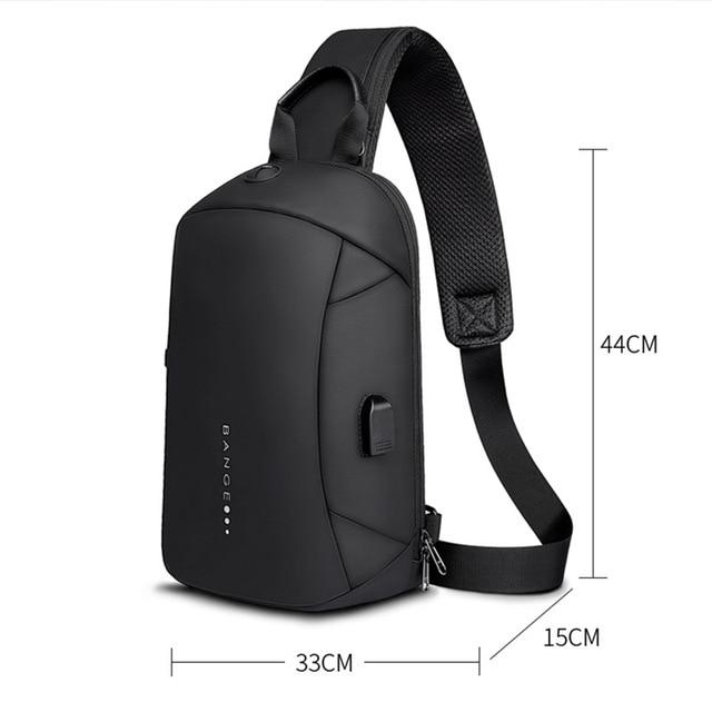 Bange Fashion Multifunction Crossbody Bags Men USB Recharging Chest Pack Short Trip Messenger Chest Bag Waterproof Shoulder Bag 5