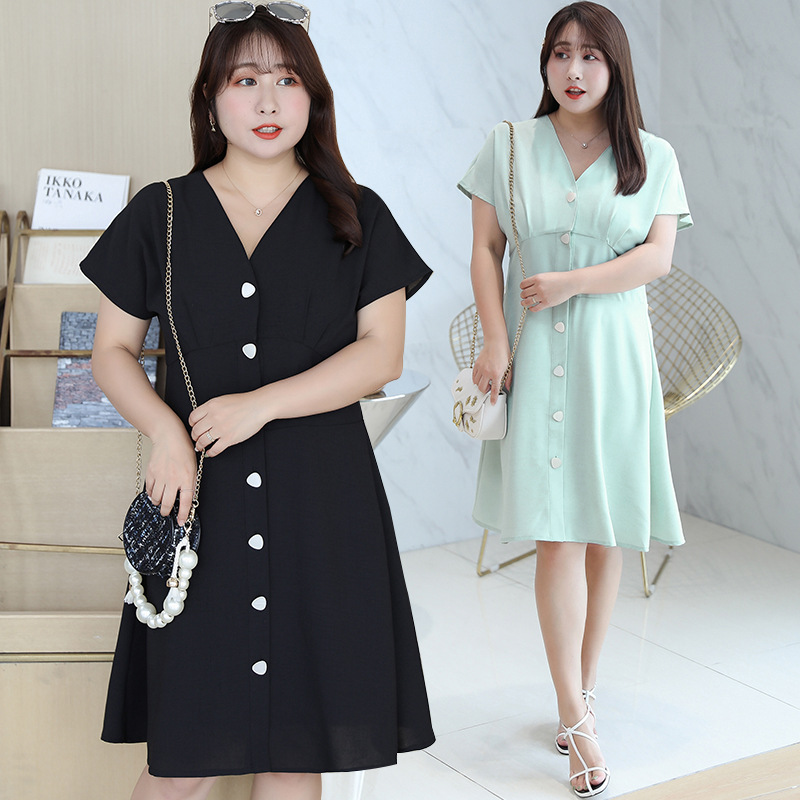 [Xuan Chen] Fat Mm Young-Style Chiffon Dress Summer New Style Plus-sized Mid-length Skirt On Behalf Of 1833