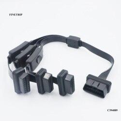 FINETRIP OBD2 16Pin przedłużacz splittera 1 męski i 3 żeńskimi ELM327 rozszerzenie Adapter 1 do 3 z wyłącznik zasilania 2FT/60cm