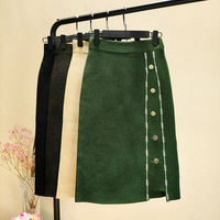 Korean Women Autumn Winter Skirts Buttons Bodycon Elegant Knitted Midi Skirt Elastic Waist Pencil Skirt Army Green Knit Skirt