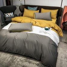 Set biancheria da letto in cotone 100% ricamo cuciture colore slip copripiumino biancheria da letto federe lenzuolo con angoli lenzuolo piatto