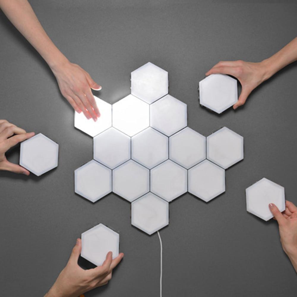 Creative Wall Lights 3-10pcs DIY Wall Lamp Touch Switch Quantum Lamp LED Hexagonal Lamps Modular Decoration US/EU/KU Plug New